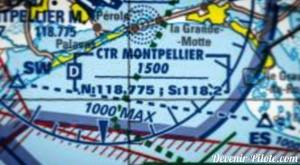Espaces aériens CTR (Control Traffic Region) de Montpellier sur carte VFR