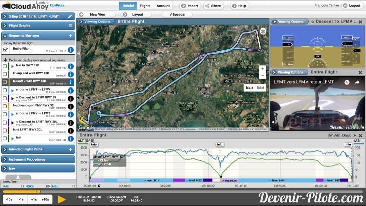 Débriefing sur Cloudahoy d'une Navigation depuis Montpellier (LFMT) vers Avignon (LFMV)