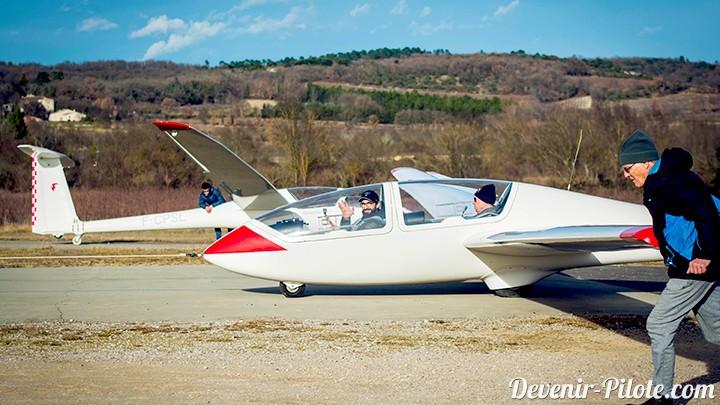 Départ en planeur avant décollage