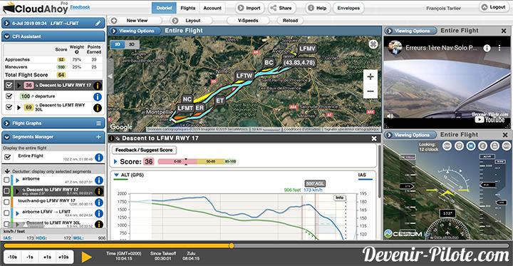 Première Navigation Solo VFR lors du PPL sur Cloudahoy