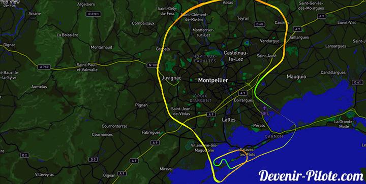 Trace GPS du vol de nuit autour de la CTR de Montpellier (LFMT)